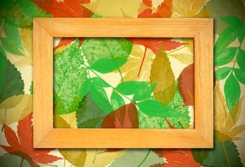 photo frame over leaves background
