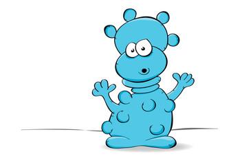 aufgeregtes blaues Monster