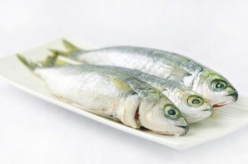 Свежая рыба на белой тарелке