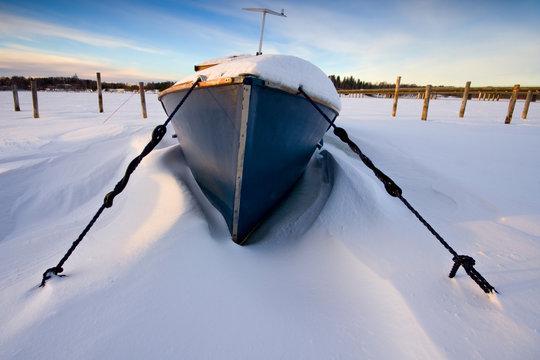 The boat in snow
