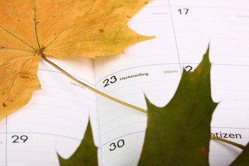 Kalender  Herbstanfang