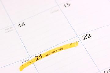 Kalender  Sommeranfang