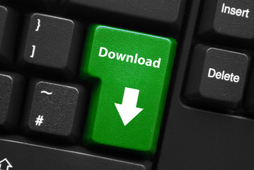 """DOWNLOAD"" Key on Keyboard (arrow save free internet web button)"