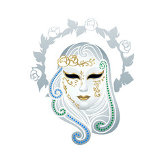Venetian female carnival floral mask isolated over white