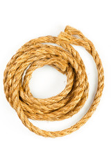 Macro of hemp rope on white background with shadow