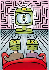persone guardano la TV