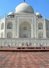 Perspective of the Taj Mahal mausoleum in Agra, India