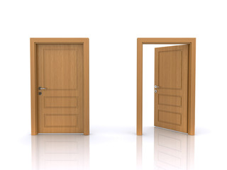 open and closed doors