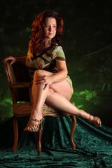 chubby woman on chair