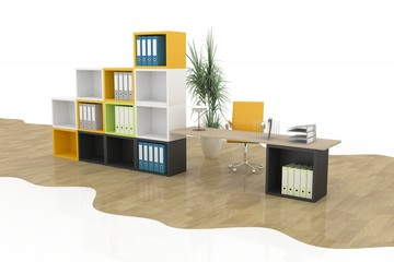 modern office furniture on a white