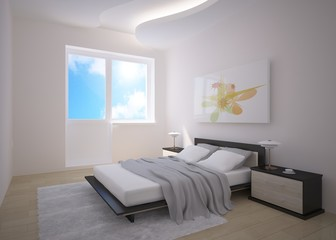 grey bedroom composition