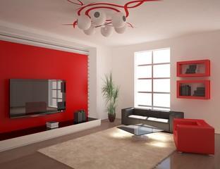 red minimal interior