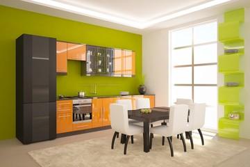 green kitchen composition