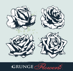 Set of grungy roses