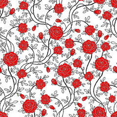 Seamless rose flower pattern . Vector Illustration