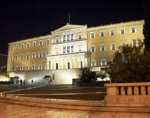 The greek parliament , Athens Greece, night view
