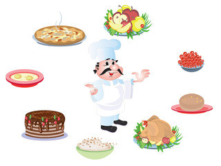 Cook and food, icons