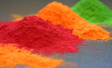 Photo of three colors of powder coating