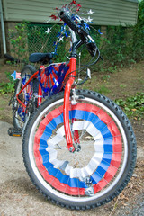 Children bike decorated in american flags prepared for 4th July