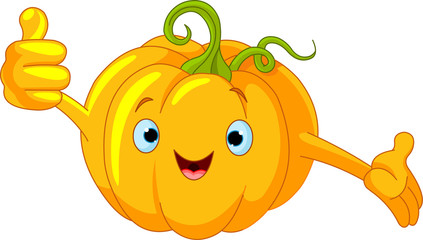 Pumpkin Character  giving thumbs up