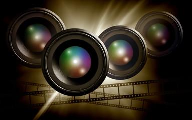lens & film strip on abstract dark background