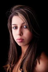 beautiful girl, isolated on black background. Studio shot.