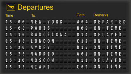 Departure mechanical board. Vector.