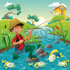 Canvas Prints River, lake Fisherman and fish in the river. Vector scene.