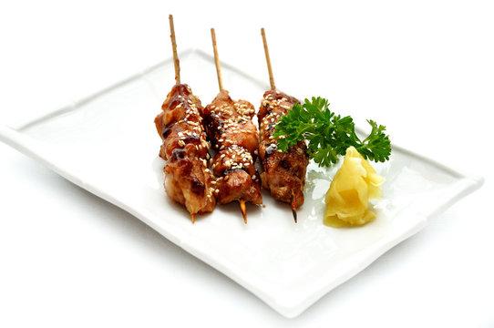 Delicious chicken satay on skewers. Yakitori