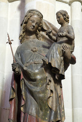 Vienna - gothic statue of holy Mary from Votifkirche