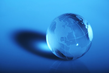Translucent globe with blue background