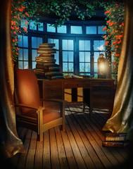 Kolorowy pokój retro z fotelem