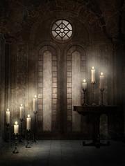 Fototapeta Gotycka świątynia z ozdobnymi świecami obraz