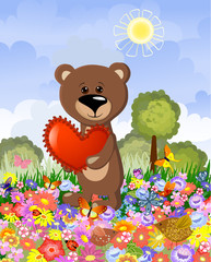 Wall Murals Bears Bear in love on the lawn
