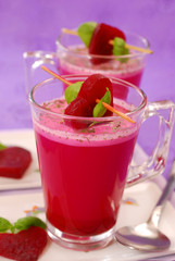beet soup with cream in glass