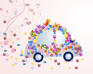 Recess Fitting Floral woman Romantic floral car with butterflies
