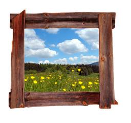 alter Holz  Rahmen Landschaft Wiese Wolken