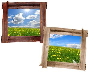 Wiese alter Holz  Rahmen Landschaft Himmel