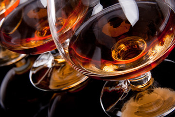 Poster de jardin Bar Three glasses of cognac