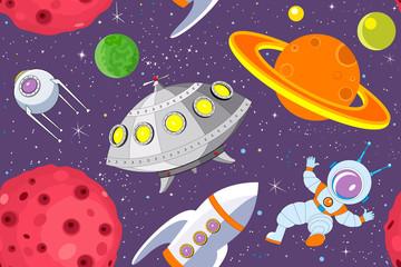 Cartoon space seamless background