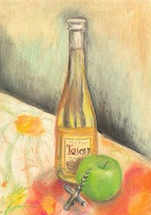 Hand painted bottle of wine