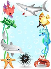 Animali Mare Sfondo-Acquario-Sea Animals Background-Vector
