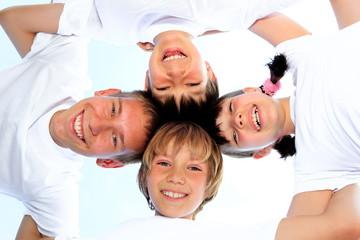 Children in white shirts