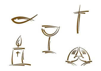 Clipart-Set: Symbole für Religion und Feiertage