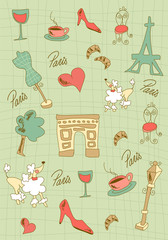 Door stickers Doodle Paris icons design.