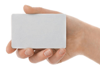 isolated empty business card in a woman's hand