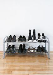 Shoe rack on a wooden floor