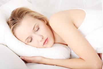 Portrait of young beautiful sleeping woman