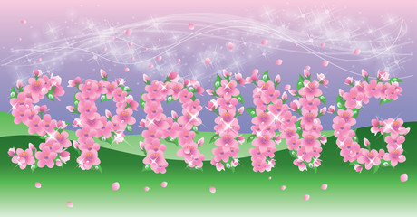 Spring Background with floral text. vector illustration