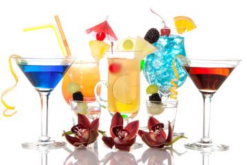 Cocktails Martini Tequila sunrise, vodka, blue hawaiian